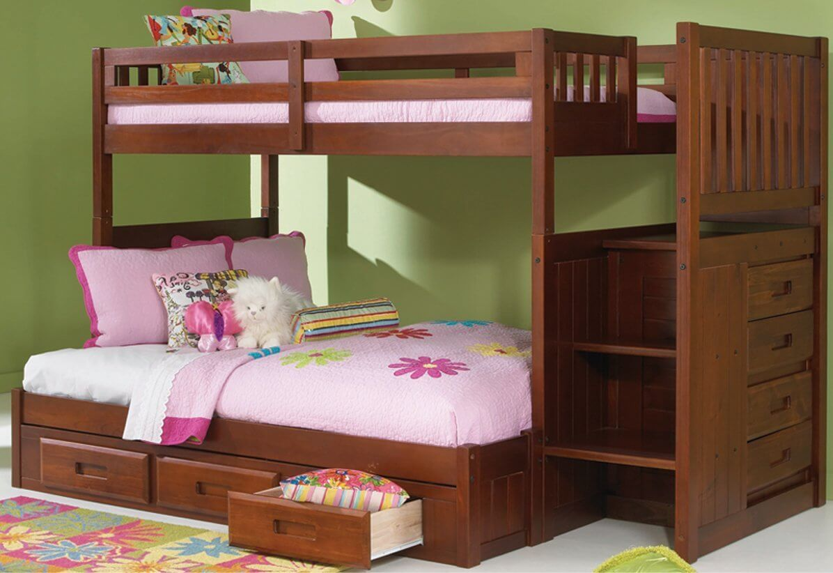 Advantages And Drawbacks Of Strong Wooden Loft Bed With Stairs Twin over Full Bunk Bed with 3 Drawer Staircase