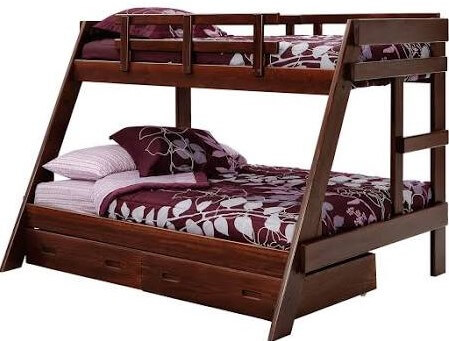 Dark Pine Twin over Full Wooden Bunk Bed