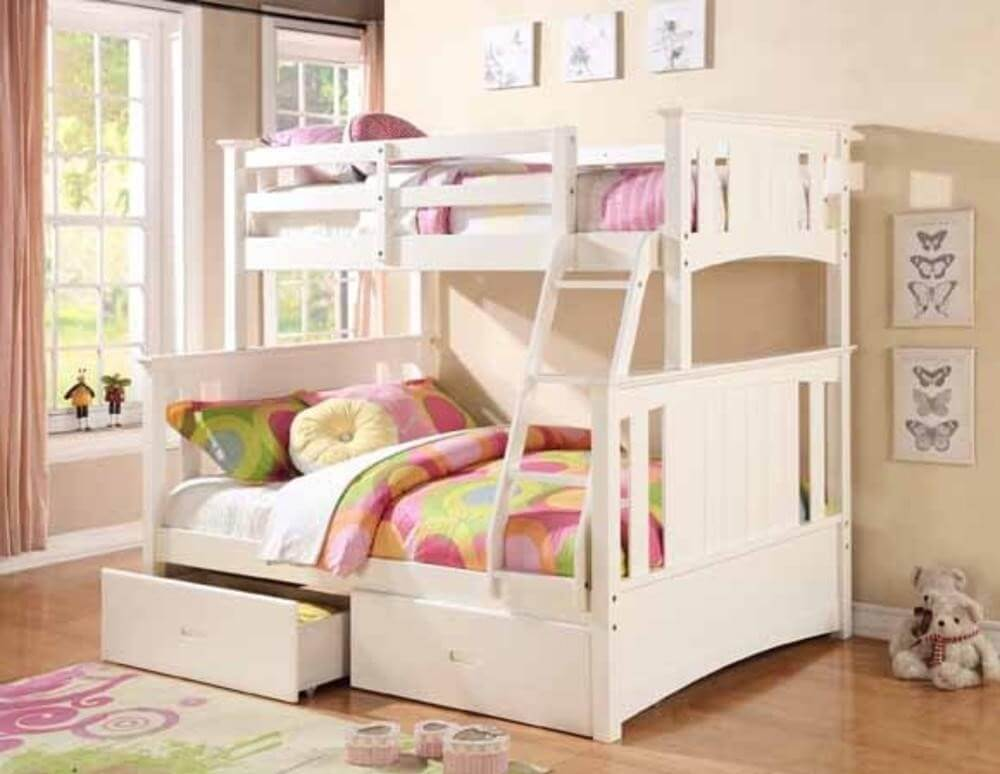 White Finish Wood Twin Over Full Bunk Bed Beds7