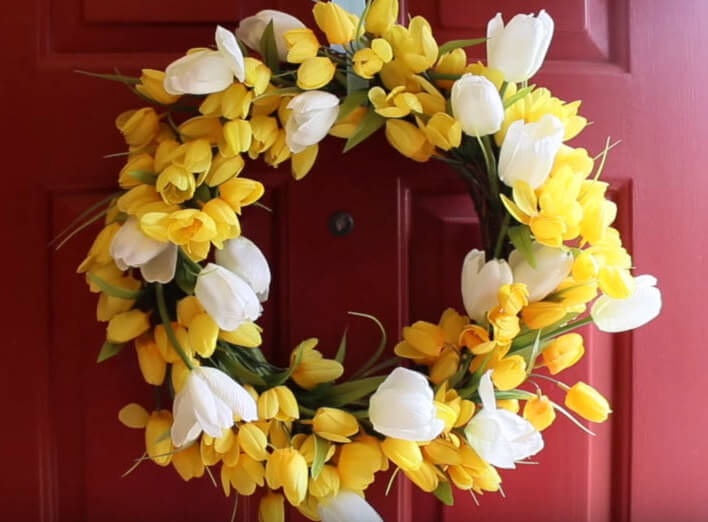 Completed Spring Flower Door Wreath