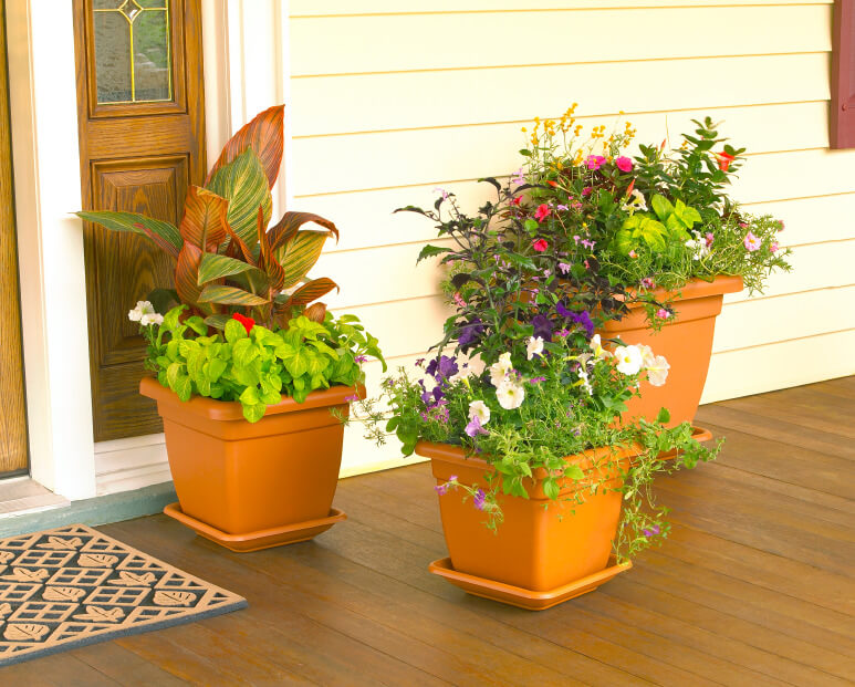 Assorted plants look even more decorative when planted all in one pot   These pots arranged. 59 Front Door Flower and Plant Ideas