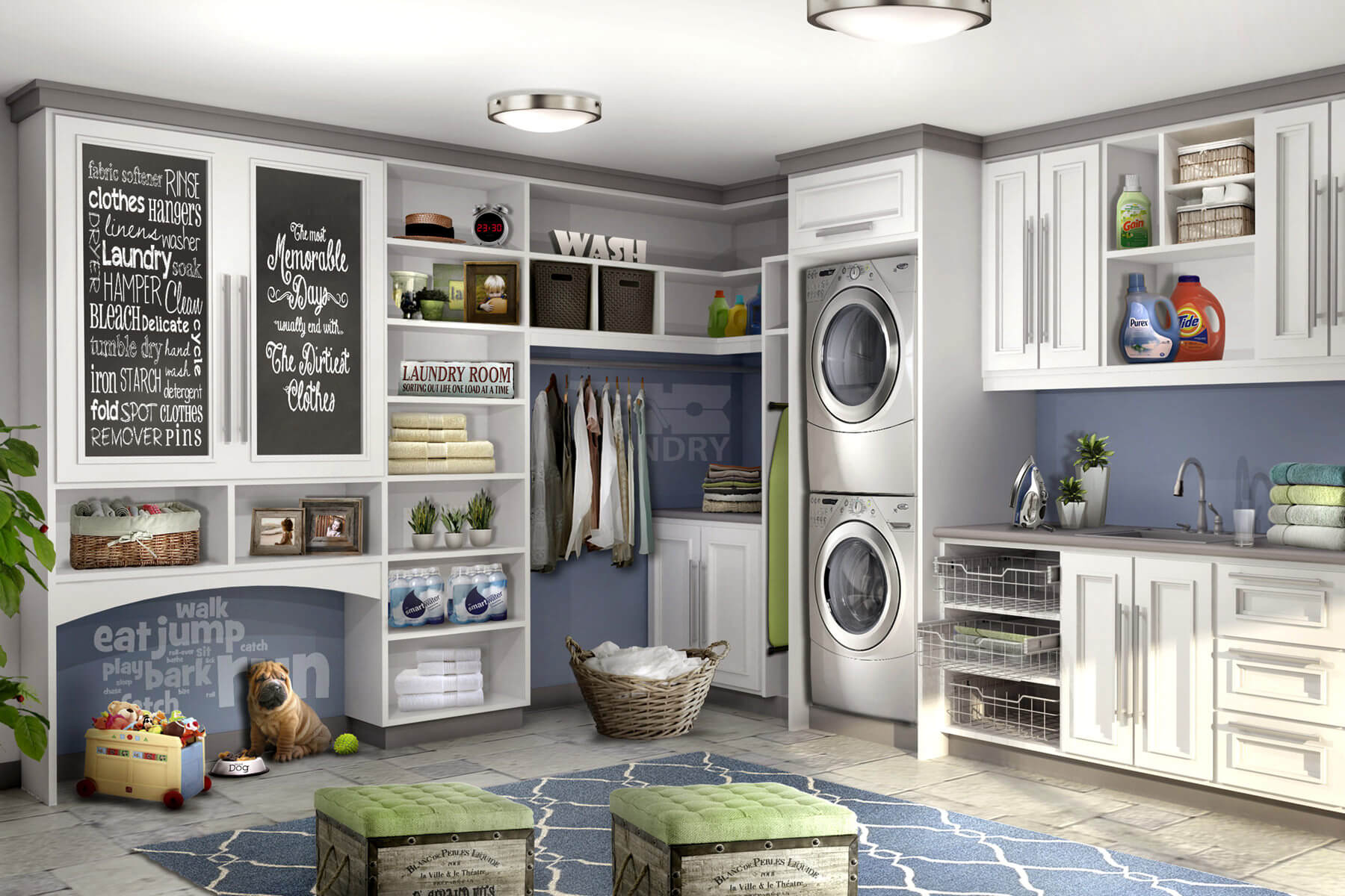 Gorgeous laundry room design with storage and stackable washer and drier.
