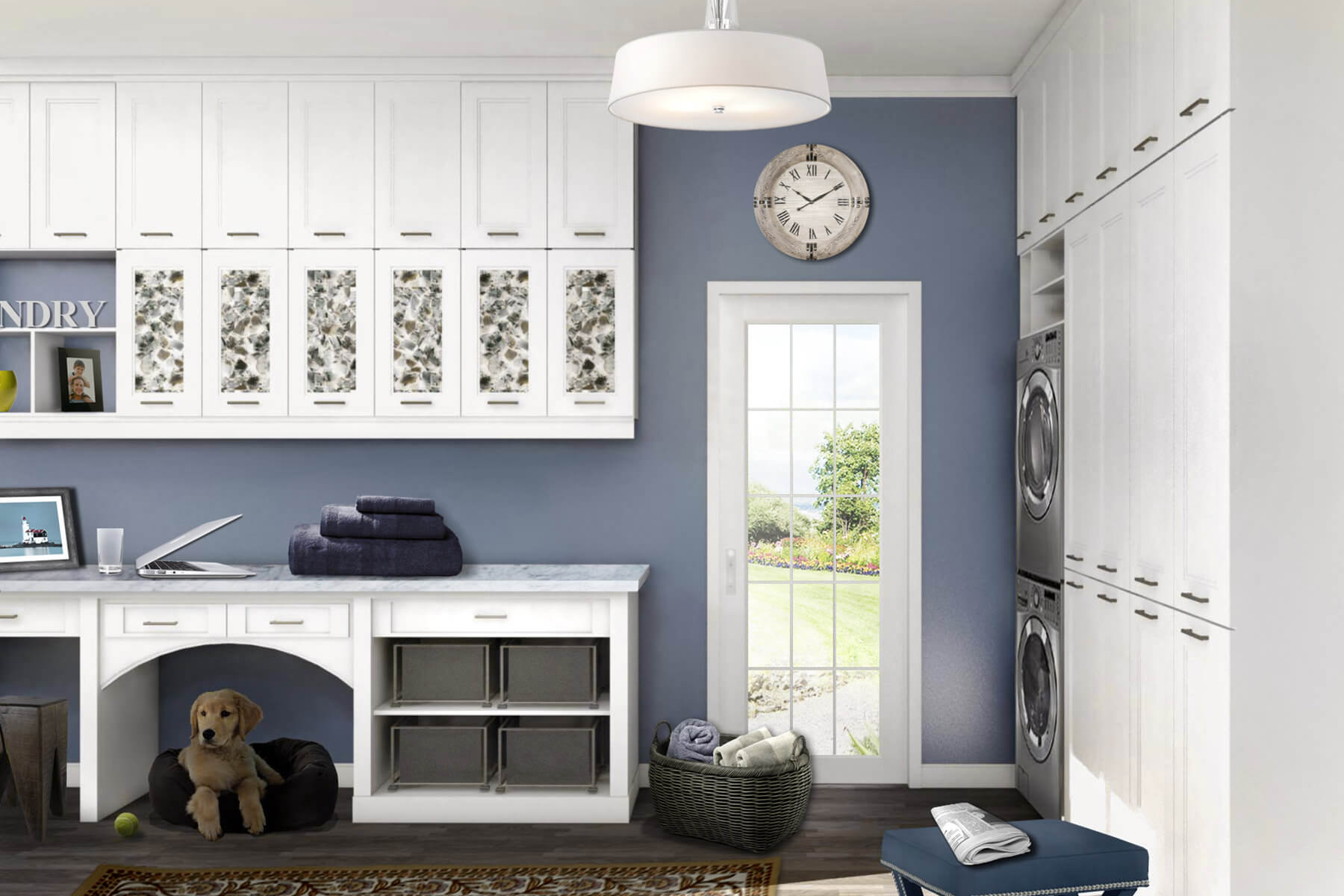 10 Stellar Laundry Room Designs By Closet Factory: study room wall cabinets