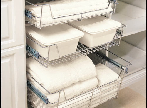 Pull out wired laundry baskets are sleek and stylish. They are a great convenience for your towels and stuff.
