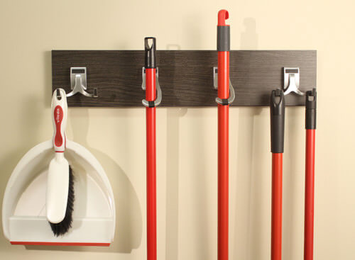 These hooks are perfect for your cleaning tools. With this you can have an easy and organized way to store tools and even make them part of your wall decor.