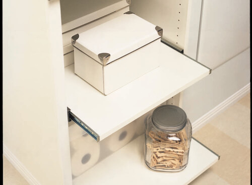 Have easy access to your items when you store them in an easy pull out sliding shelves. These simply glide out when pulled.
