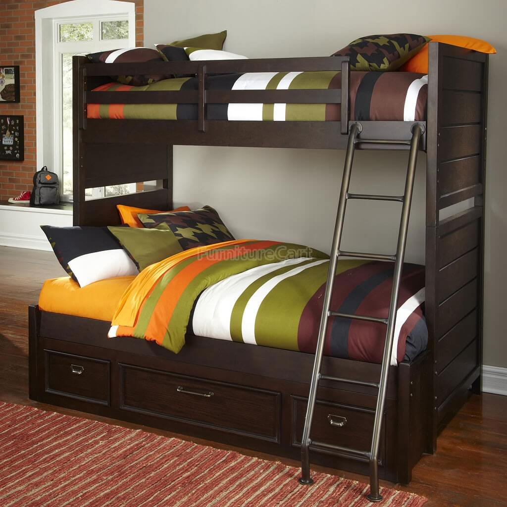 Dark wood twin over full bunk bed