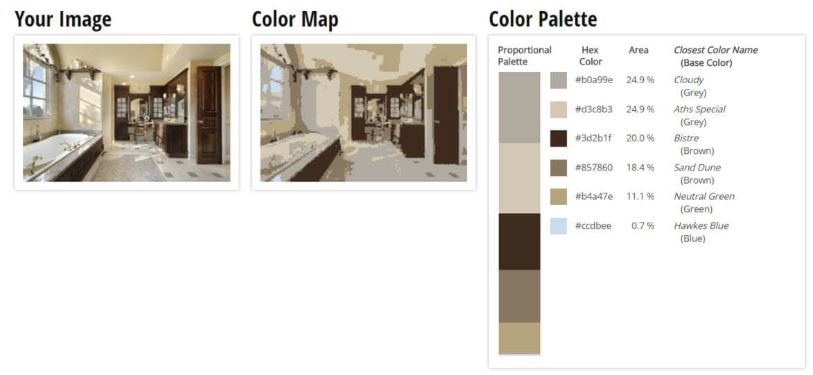 Color Palette for Tan, Brown and Grey Bathroom Color Scheme