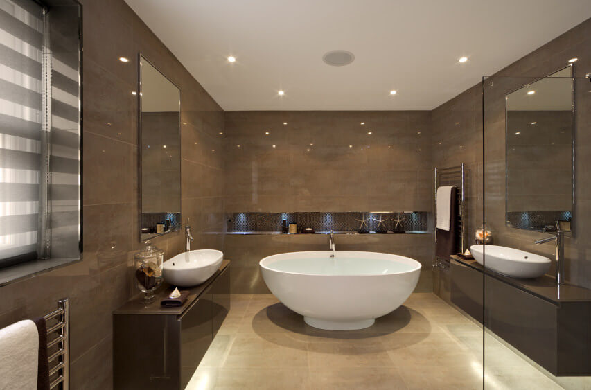 Superieur Contemporary Designed Bathroom With Shimmering Brown Derby Colored Wall And  Tile Vanities. White Ceiling And