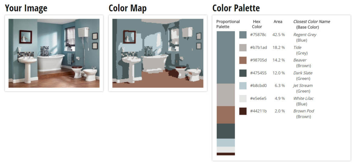 Color Palette for White, Blue and Brown Bathroom Color Scheme