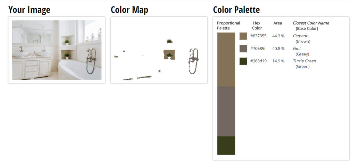 Color Palette for White, Cream and Grey Bathroom Color Scheme