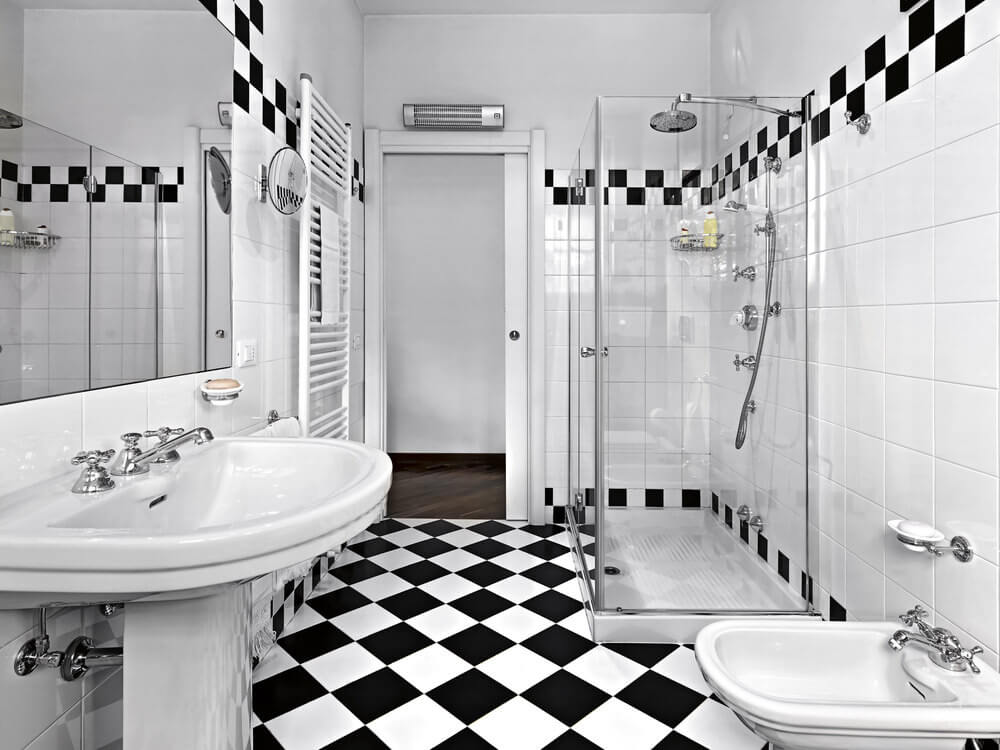 black and white tile patterns for this bathroom create a rock star color scheme the - Bathroom Ideas Colours