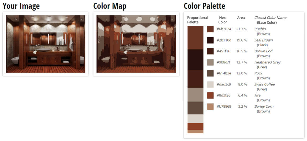 Color Palette for Brown, Black and Grey Bathroom Color Scheme