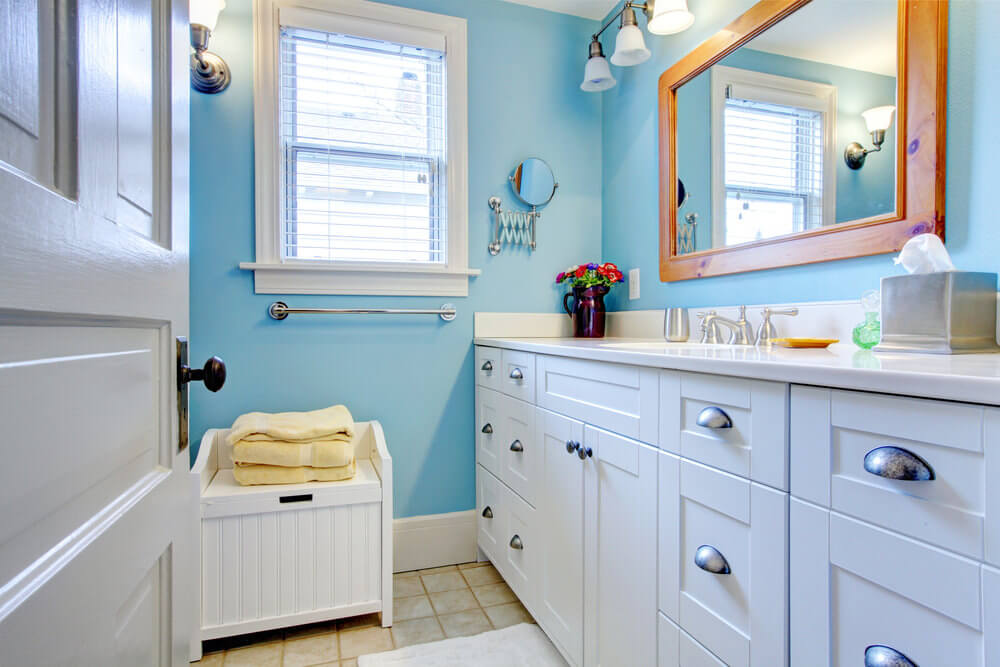 The Echo Blue Wall Paint And White Vanities Resemble Nicely Weathered Blue  Skies, Touched With