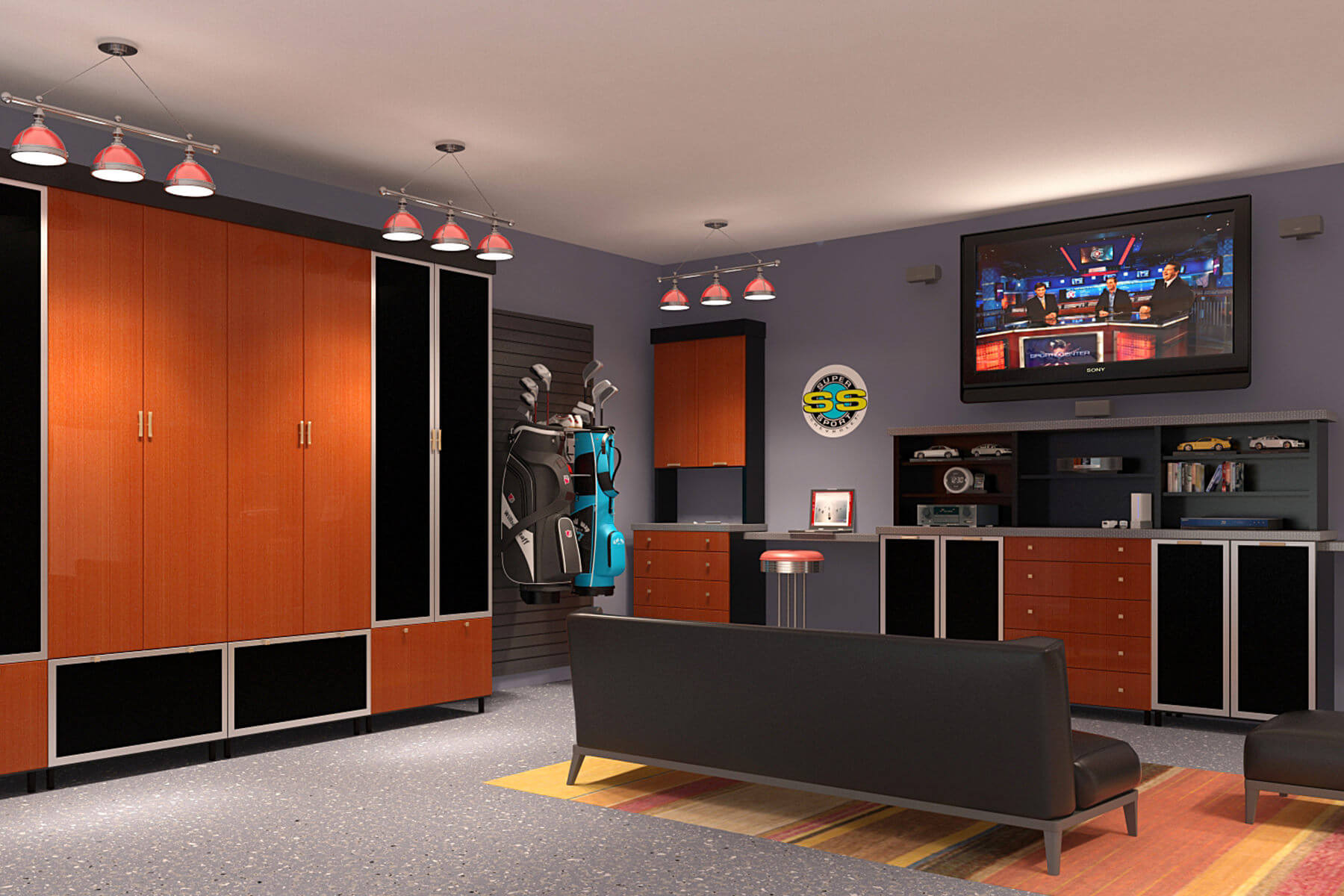 The dominating attraction in this garage man cave is none other than the black melamine cabinets with red aluminum faces and black guard inserts.