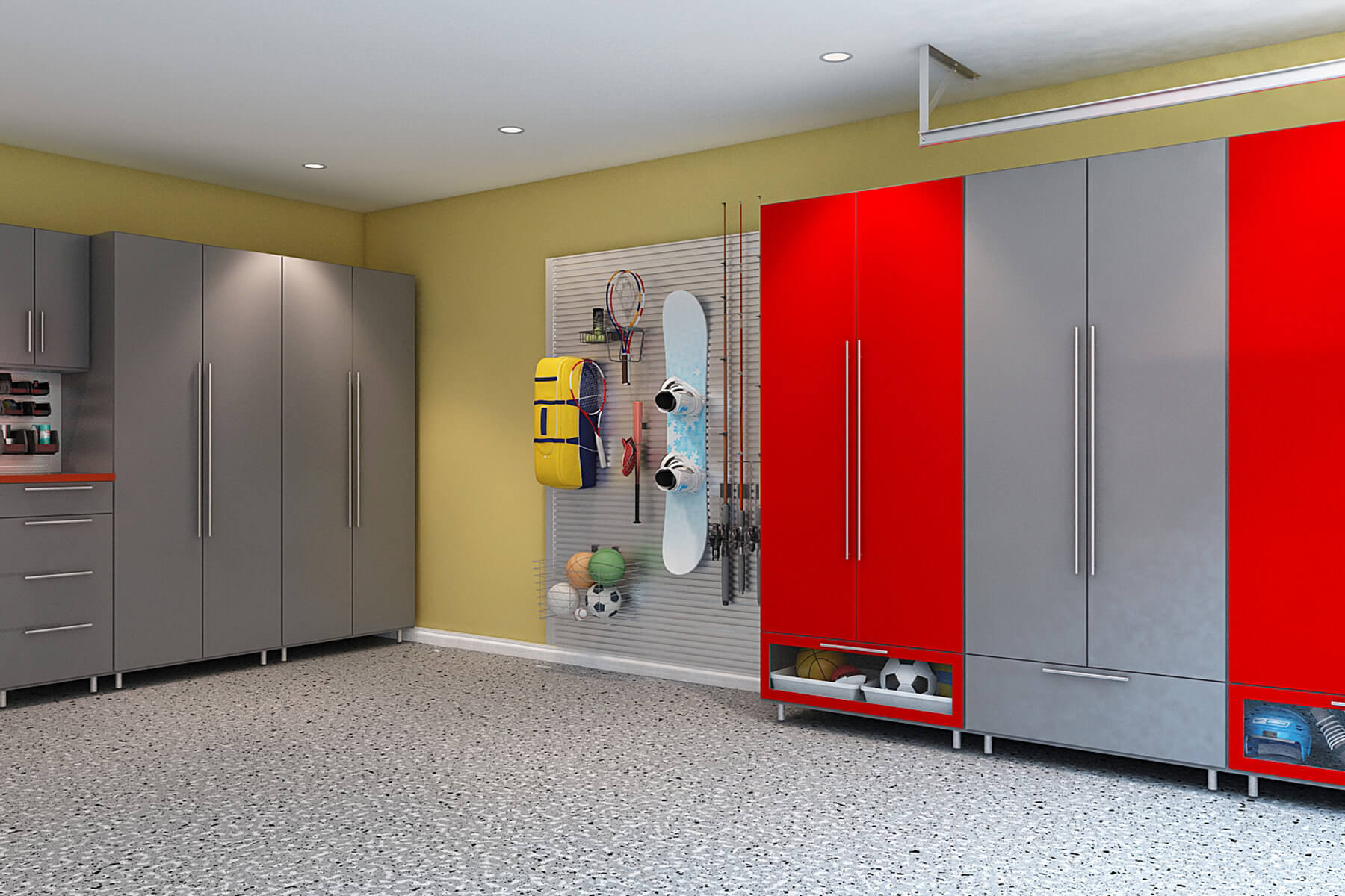 The Industrial Look Of The Tall Steel Gray Melamine Cabinets Is Contrasted  By The Boldness Of