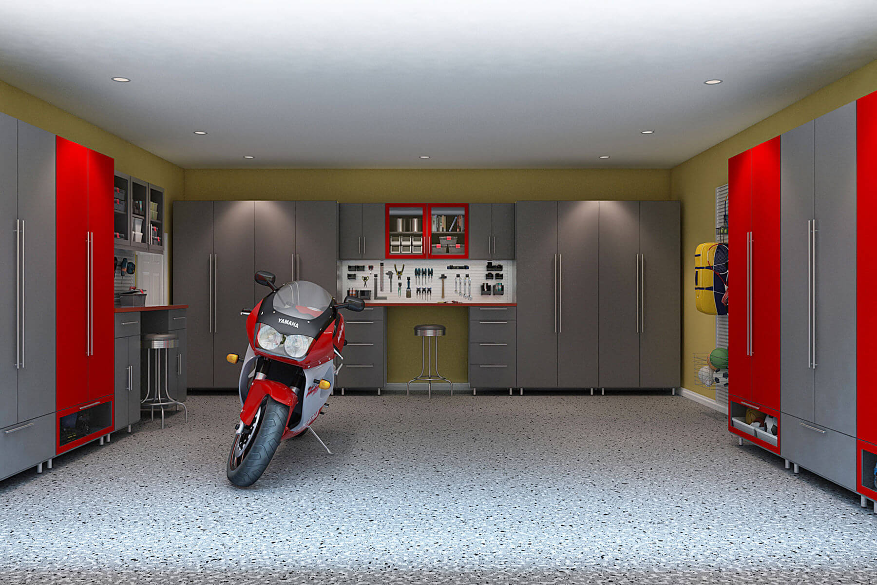 The running theme of this garage is the red and gray combination of colors in its tall melamine cabinets that line up the three corners of the garage. A sparkle of yellow on the walls only add up to the playfulness of colors exercised in the room.