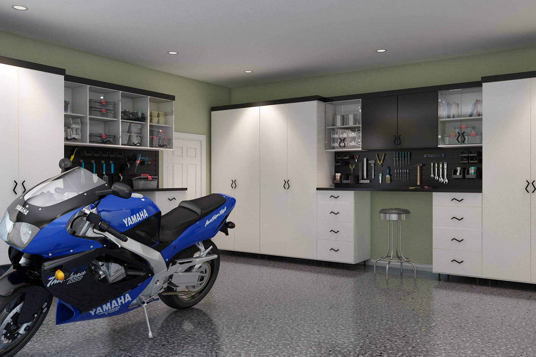 A modern design is achieved in this garage of black and white melamine cabinets with full length extrusions and butcher block countertops. There are some open shelves as well to add more storage.