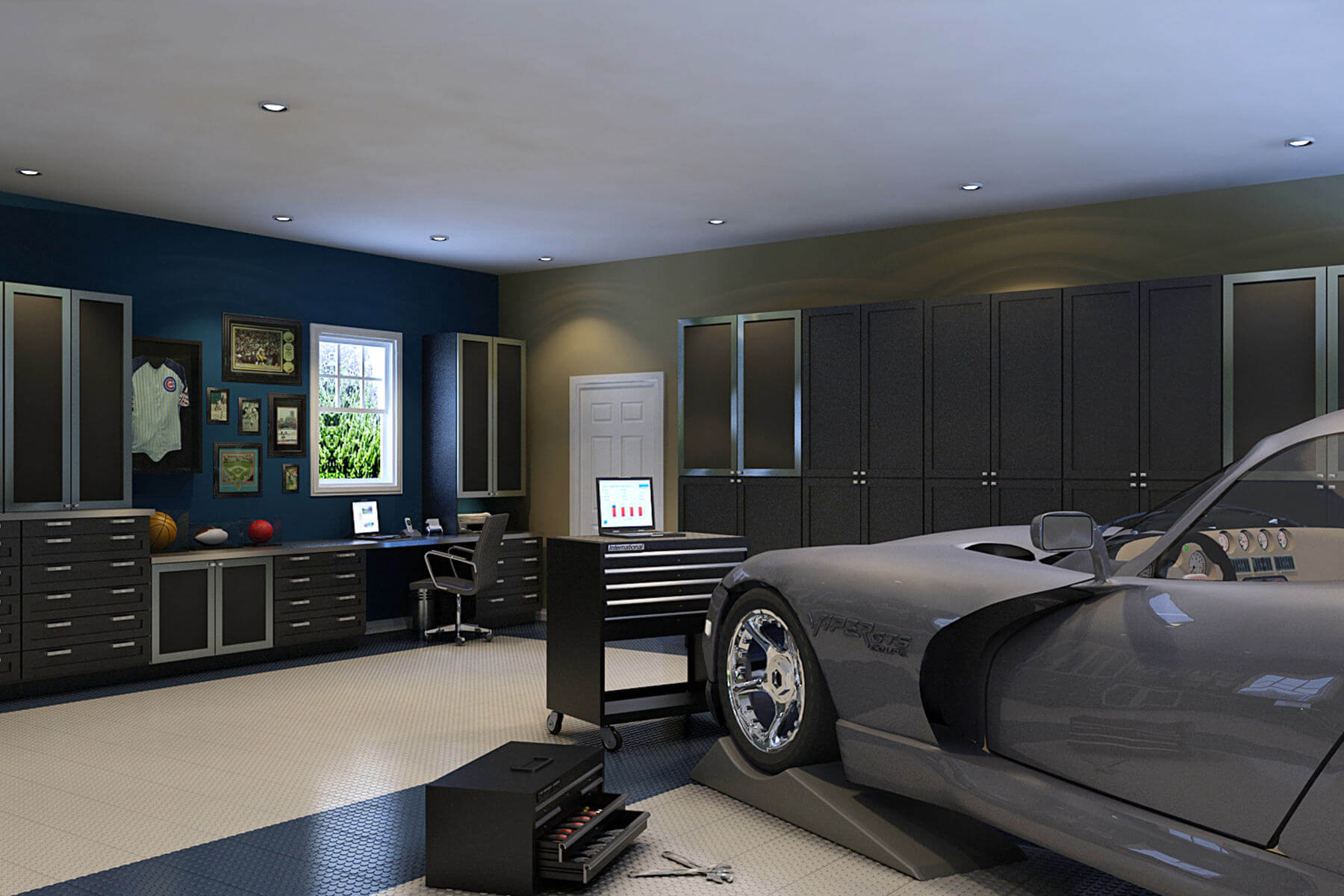 Easily a man cave, this masculine elegant garage is designed in silver and black and made of completely waterproof resin. Cabinet doors and drawers are intentionally bullnose to achieve a smooth line.