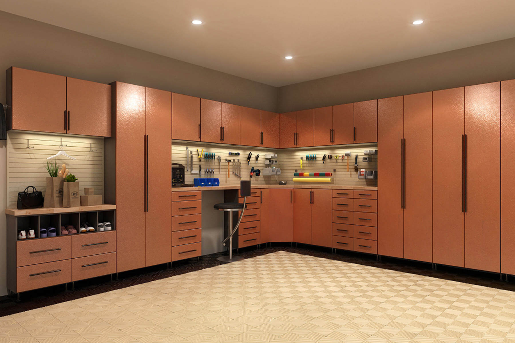 This garage has earthly colors pleasing to behold. The main attraction of the room is obviously the bronze metal doors of the cabinets that produce a sophisticated yet cozy look.