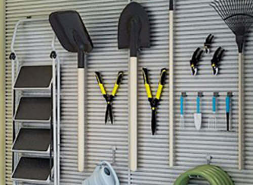 Slatwall Organizers help keep tools and sports equipment organized.