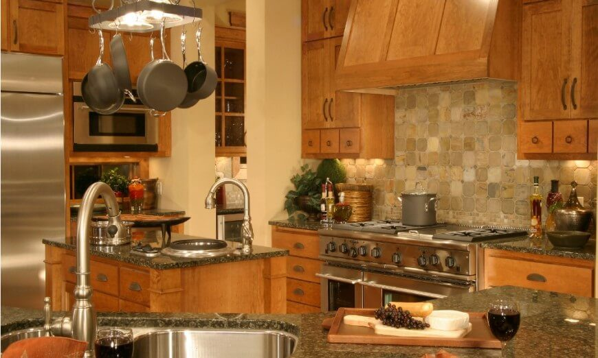 This Lovely Kitchen Has Stone Tile On The Backsplash And Simple, Yet  Well Crafted
