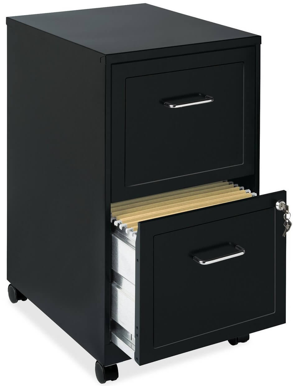 18 Inch 2 Drawer Mobile File Cabinet