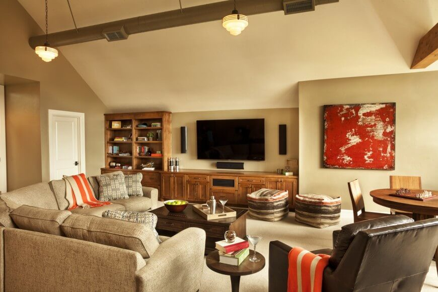 simple family room. Simple  neutral paint is a casual low key wall treatment for room How Much Does Family Room Cost