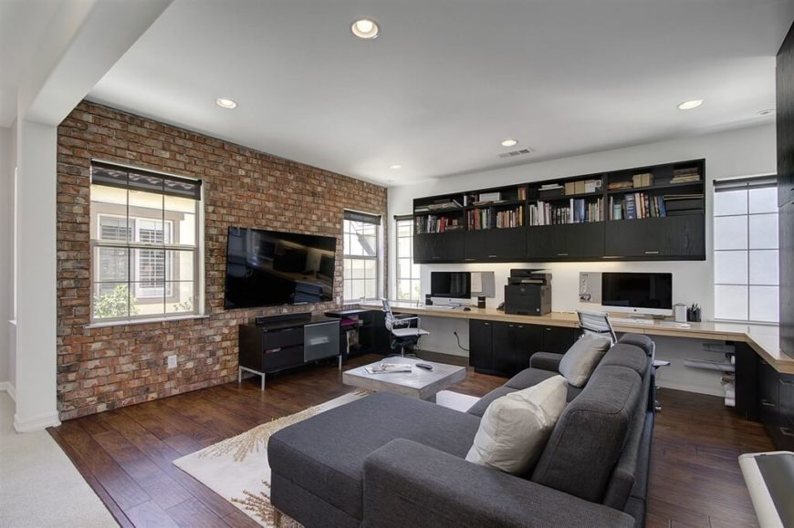 A Brick Wall Is An Industrial Feature That Looks Great In Family Rooms,  Regardless Of