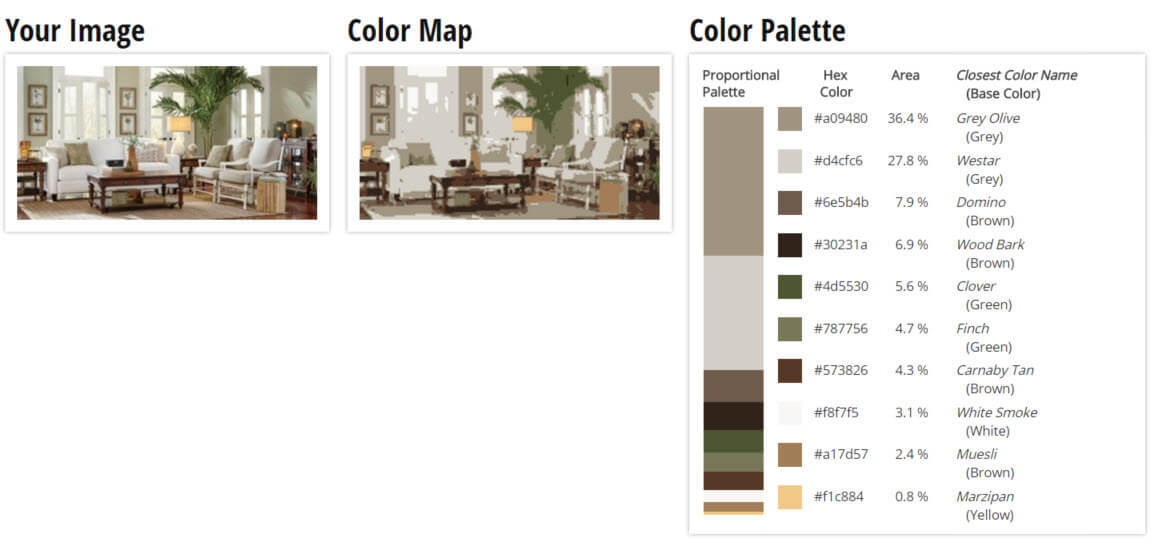 Color Palette for Olive, White and Wood Living Room Color Scheme
