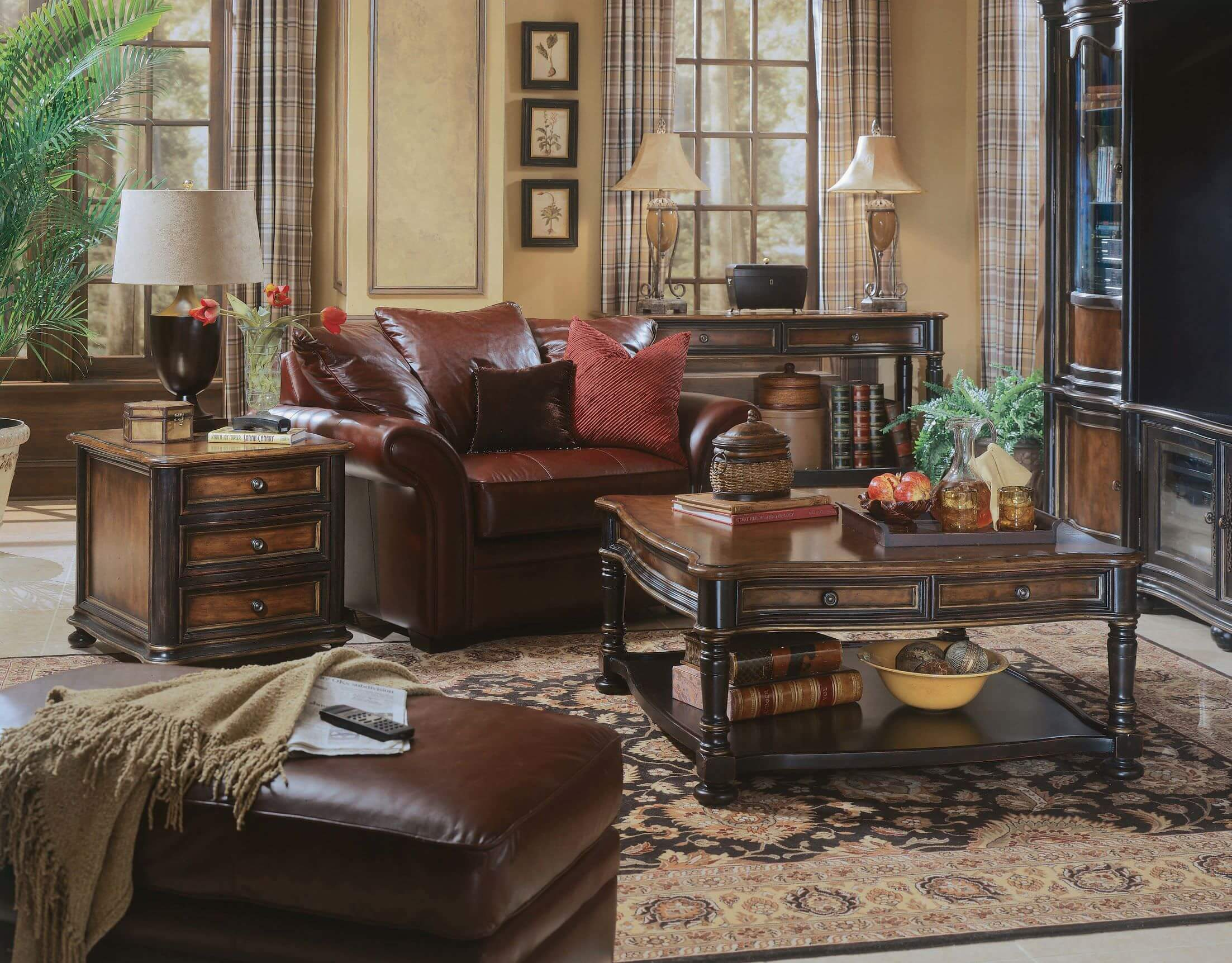 If you want to give your living room an antique feeling, why not play with both dark and light shades of brown? Use light brown colors for your walls and accentuate it with dark brown furniture and pieces.