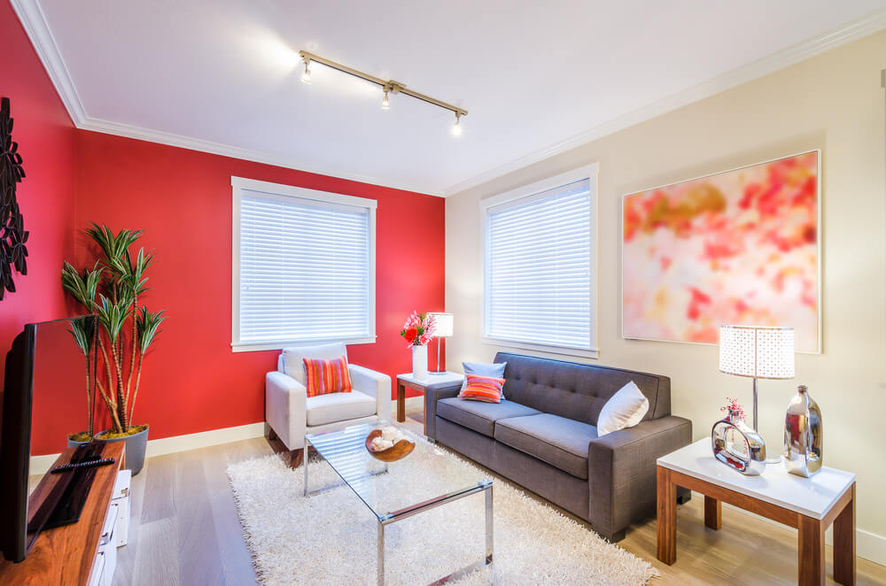Red Living Room Color Schemes ... Give life and light in your living room by combining rich shade of reds  or orange Color Palette for Red ...