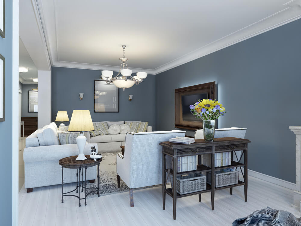 Combine grey, blue and browns to give your room a relaxing aura as the colors give a nice touch of elegance and calmness. Use white or grey paint and pillow furnishings to accent your ceiling and key corners while the entire walls are in a calming rock/river blue or grey colors. It will remind you of the sea at night.