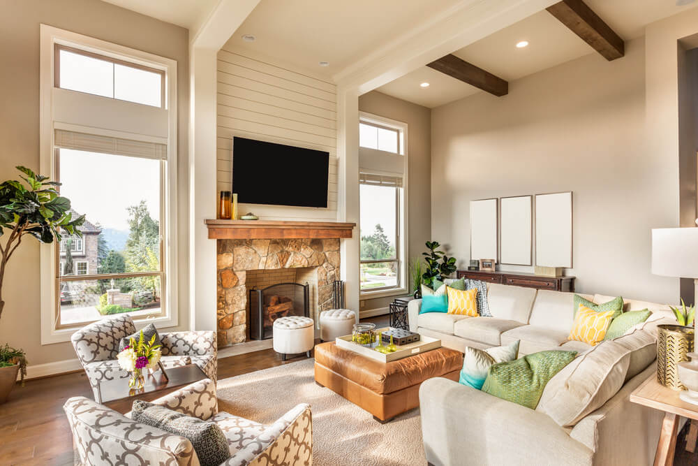 Using creamy brown colors and other light brown blends work excellent in living rooms with high ceilings and windows. These colors would give more light in your room and make it look larger. Use green upholstery to add more color in your room.