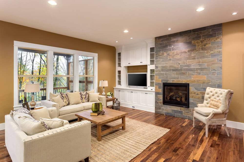 Play with different brown blends for your living room – from your walls to your floors – as it can actually calm your mind and give a homey feel. Use a darker shade of brown for your flooring and compliment it with lighter brown blends for the walls. Accentuate it with creams and even white to blend with your living room.