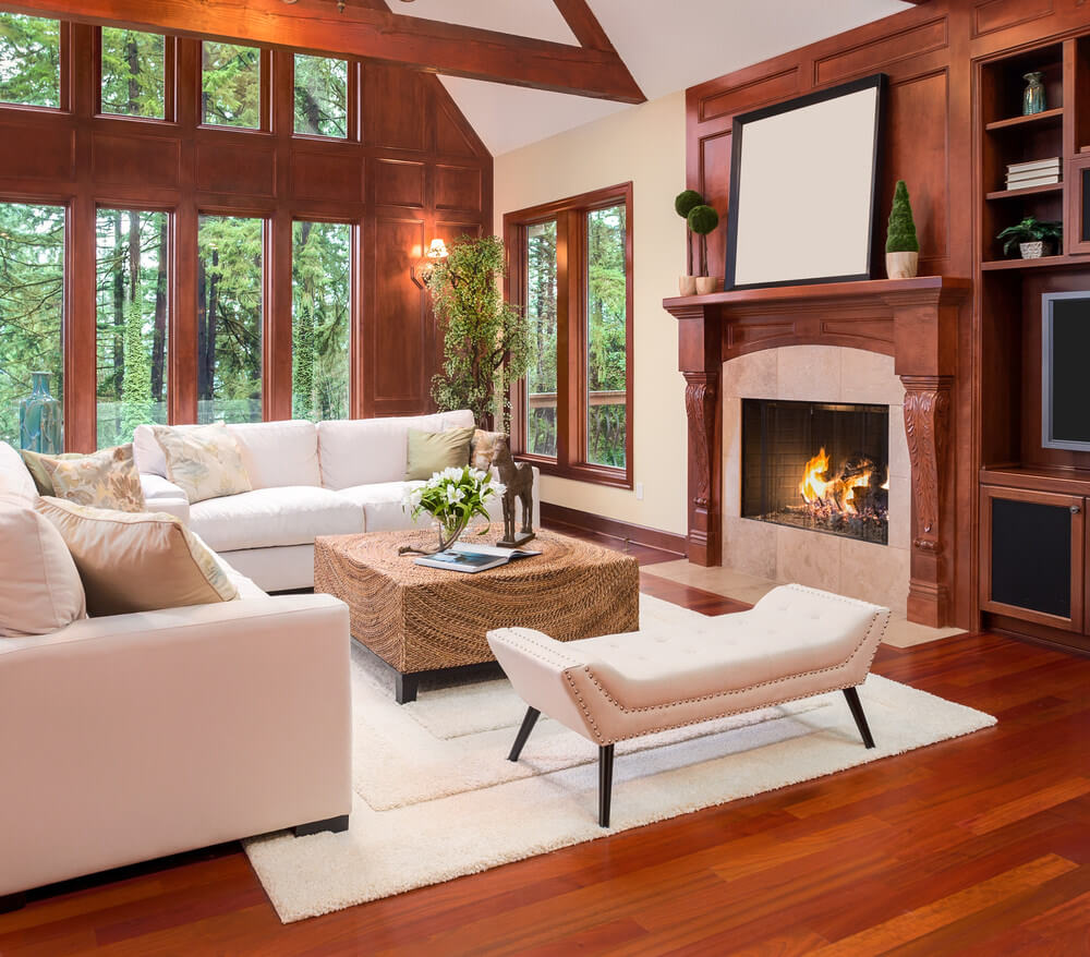 Want to give your living room a country aura? Play with a light brown- cream wall color to give a lighter ambiance. Use dark brown – mostly wooden ornate and floors – to give it a country feeling. Use light colored furniture or furnishings to balance out the wooden brown fixtures.
