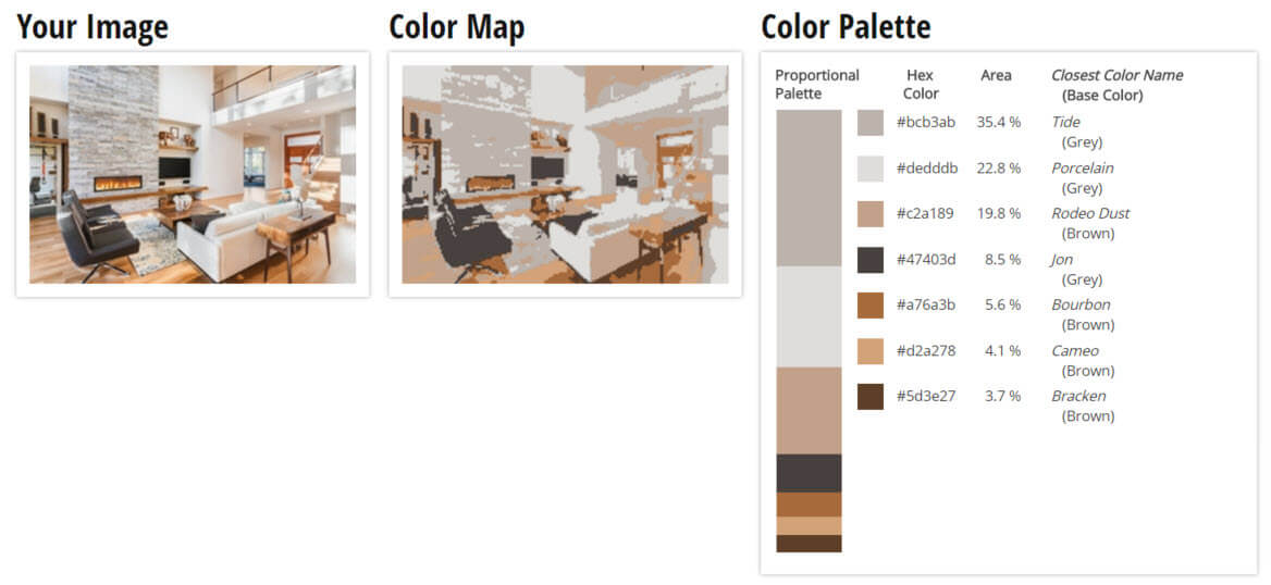 Color Palette for White, Grey and Brown Living Room Color Scheme