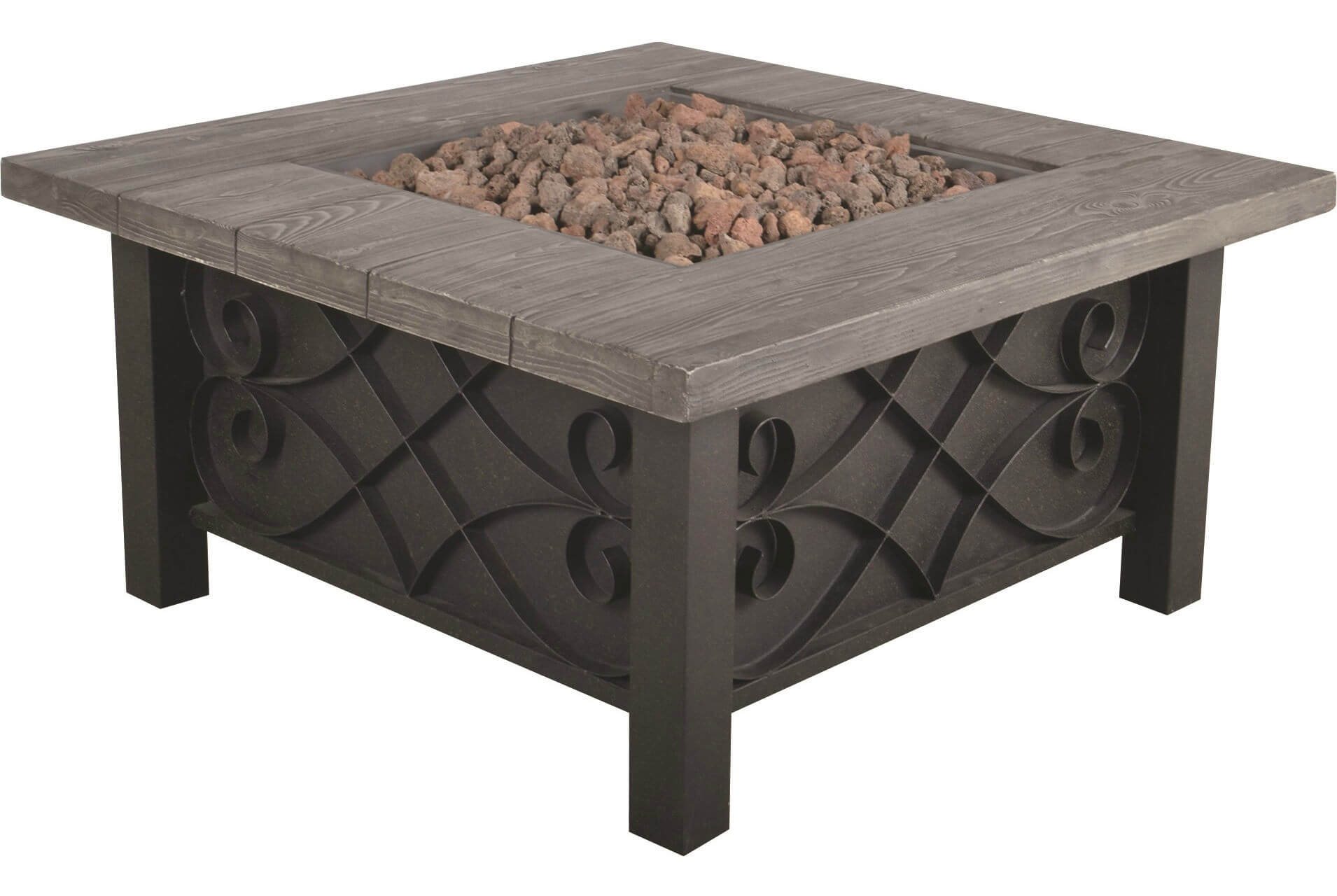 Get This Charming And Rustic Steel Propane Patio Fire Pit With Table Ledge  To Give Your