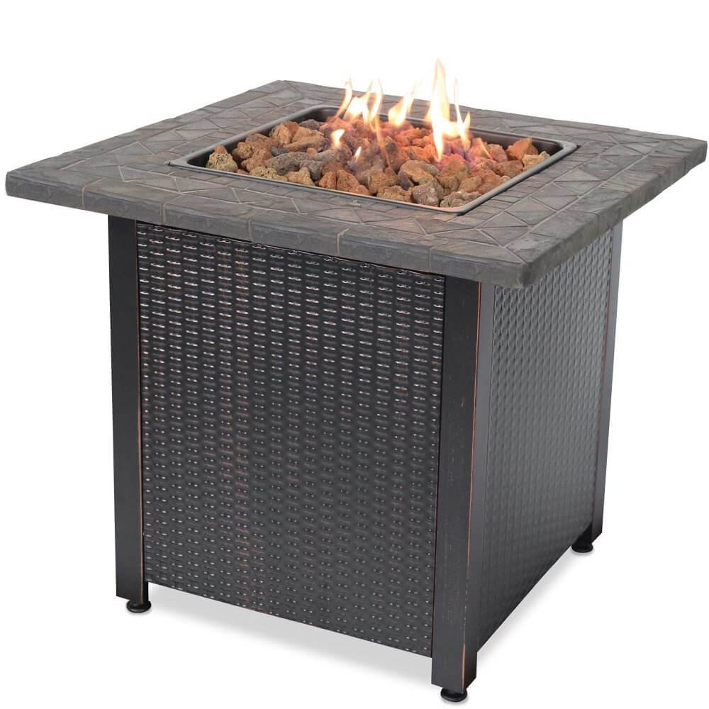 If you want a simple propane fire pit, this is a great model for under $500. It has a simple table top counter and is very tall. You can use lava stones to help you lighten the mood on those cold winter nights.