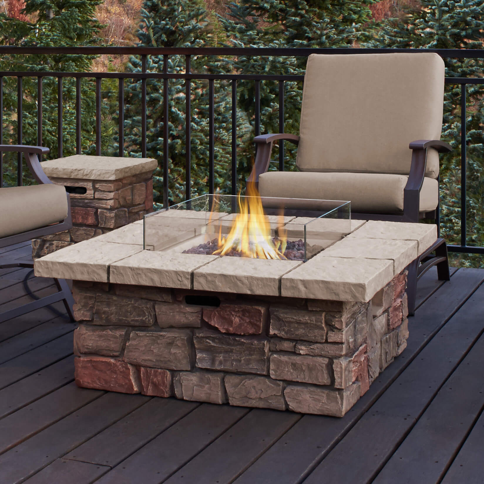give your home a cool fire pit table with this brick façade propane patiofire pit. top  types of propane patio fire pits with table (buying guide)