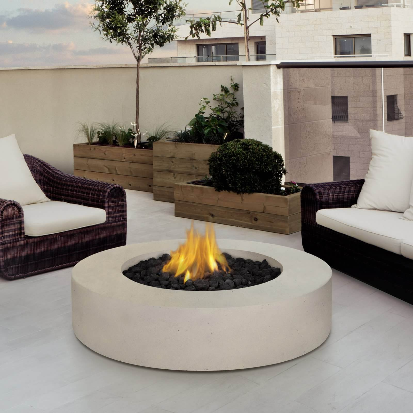 Want A Simple And Elegant Fire Pit Table? Then Why Not Get This White Marble