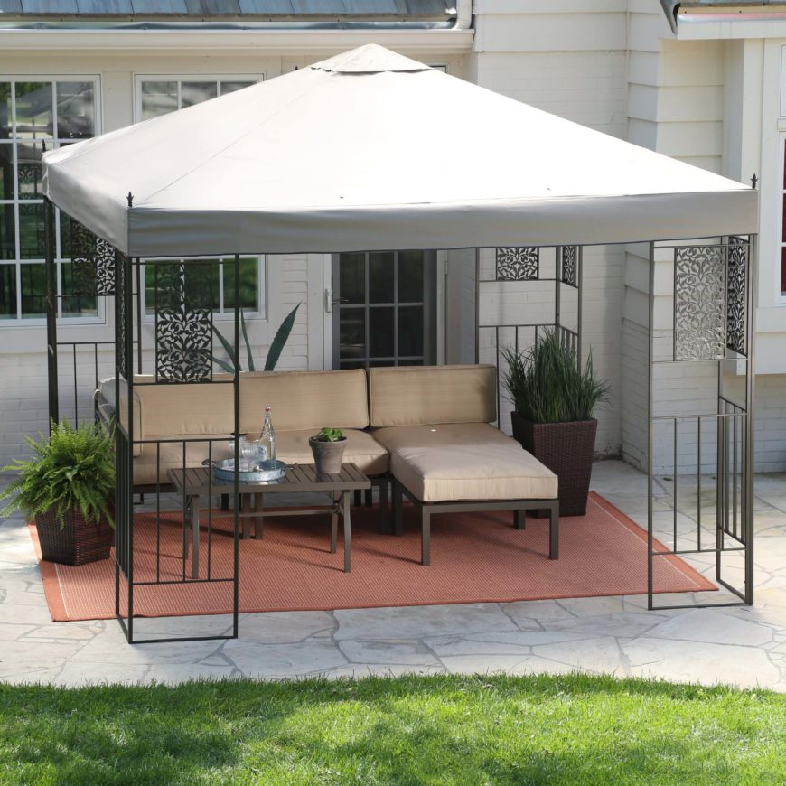 If you're looking for something with a little more modern elegance, this gazebo might be the perfect choice. Its sturdy metal construction and angular looks support a broad canopy that will protect a lot of space from the weather.