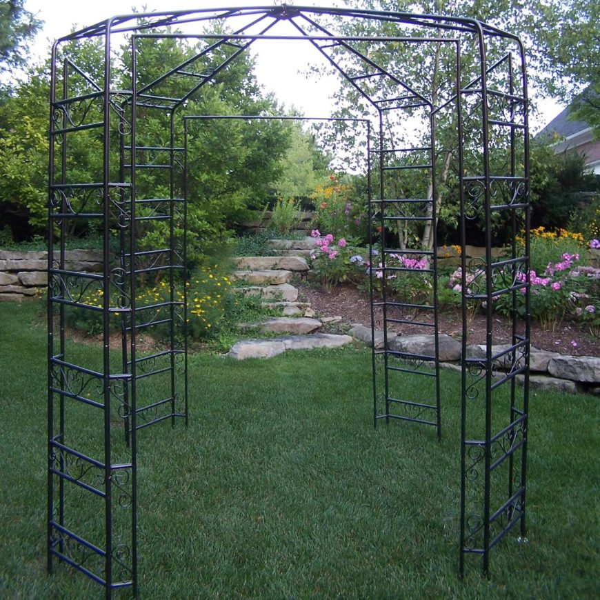 Here's another uniquely styled garden gazebo designed to accent the look of your yard with elegant iron construction. Something like this would be perfect for growing roses on.