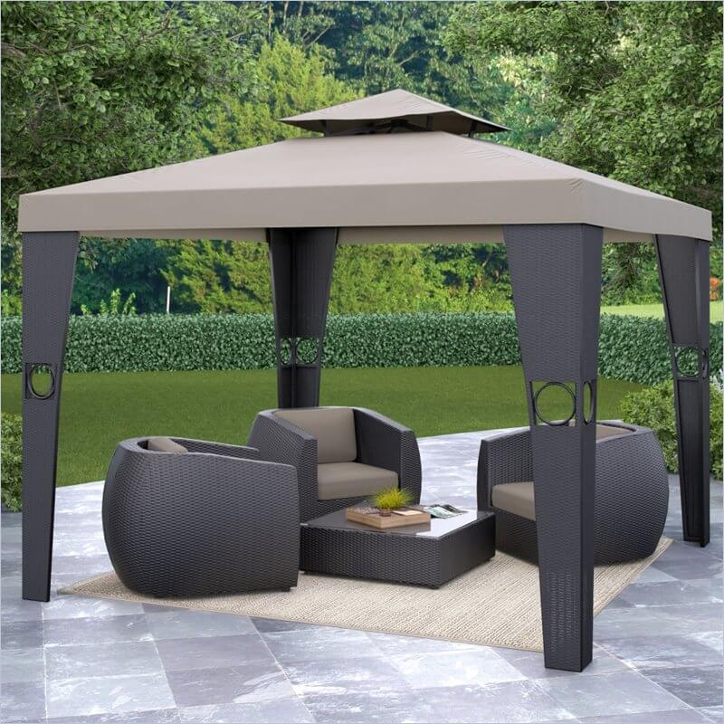 Thick rattan wrapped pillars and a sleek canopy define this elegant, modern styled gazebo. The large size and light weight mean that it's useful and portable in equal measure.