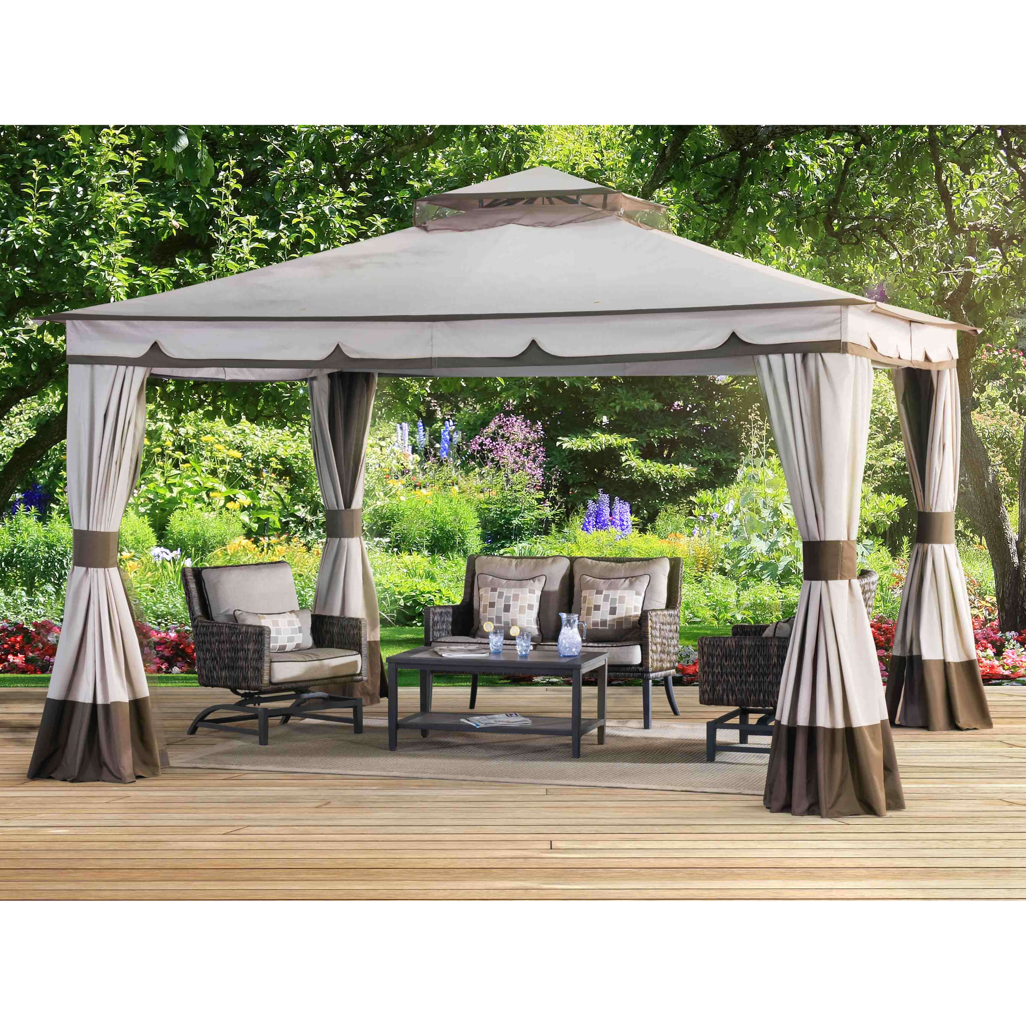 With 120 square feet of floor space beneath its broad canopy, this gazebo has plenty of room for activities, dining, or relaxing. The wraparound curtains can be drawn back for a fully opened look.