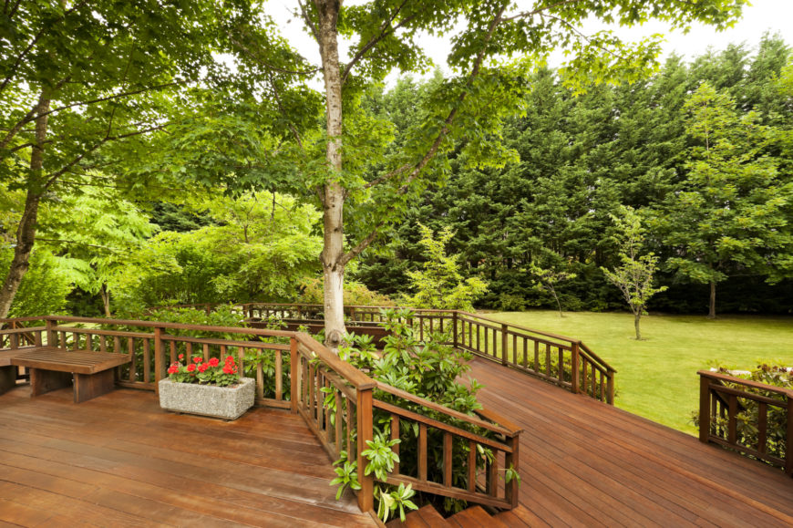 This circular deck has two tiers with landscaping in between each level, adding privacy and a sense of nature throughout the available entertaining space.