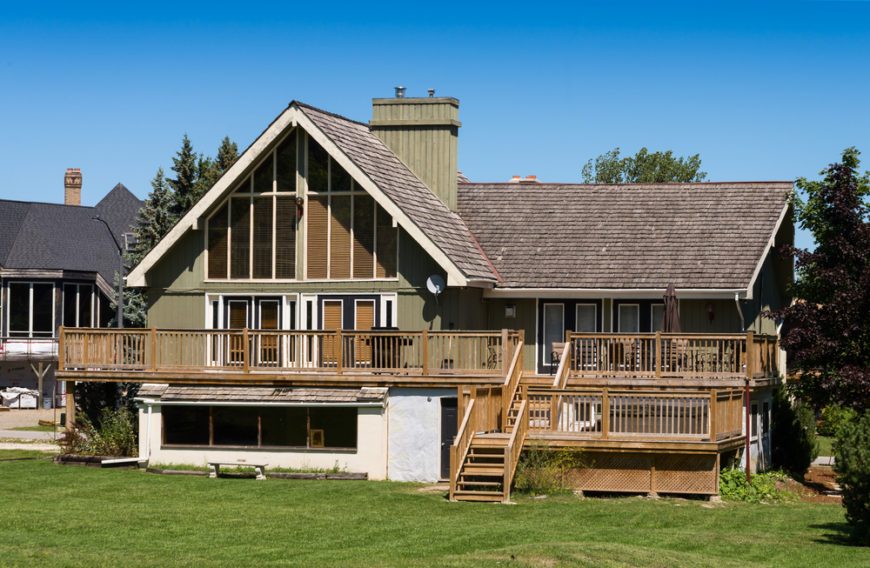The top tier of this deck stretches around the side of the home, but also leads down to a lower deck that is the perfect size for a hot tub.