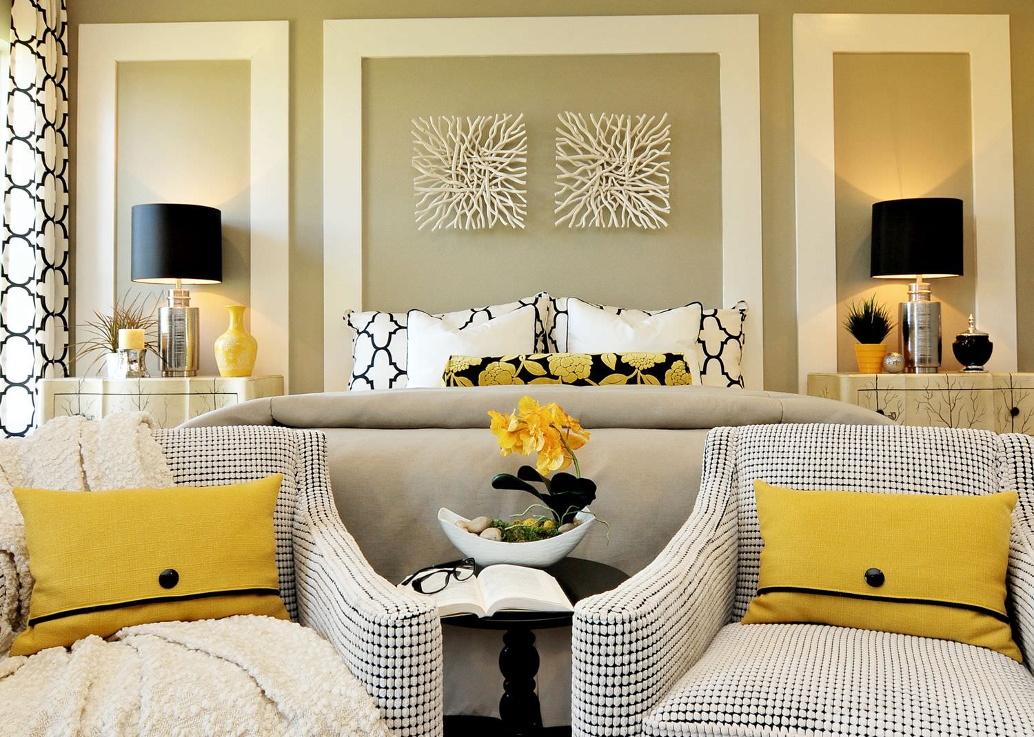This bedroom would not be the same without yellow details. Using bright color greatly revives the the space and makes it special. The chairs provide a bright sunny spot to read the newspaper or unwind after a long day.