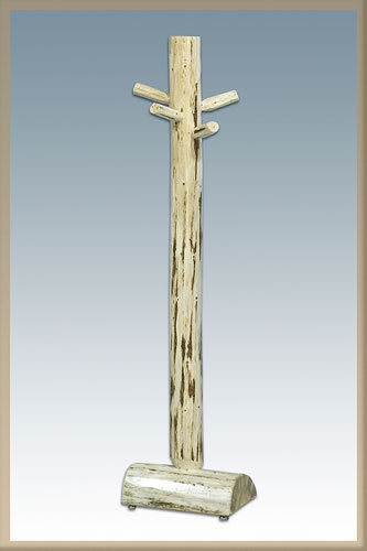 This artisan coat rack is designed to look like a rustic log tree.
