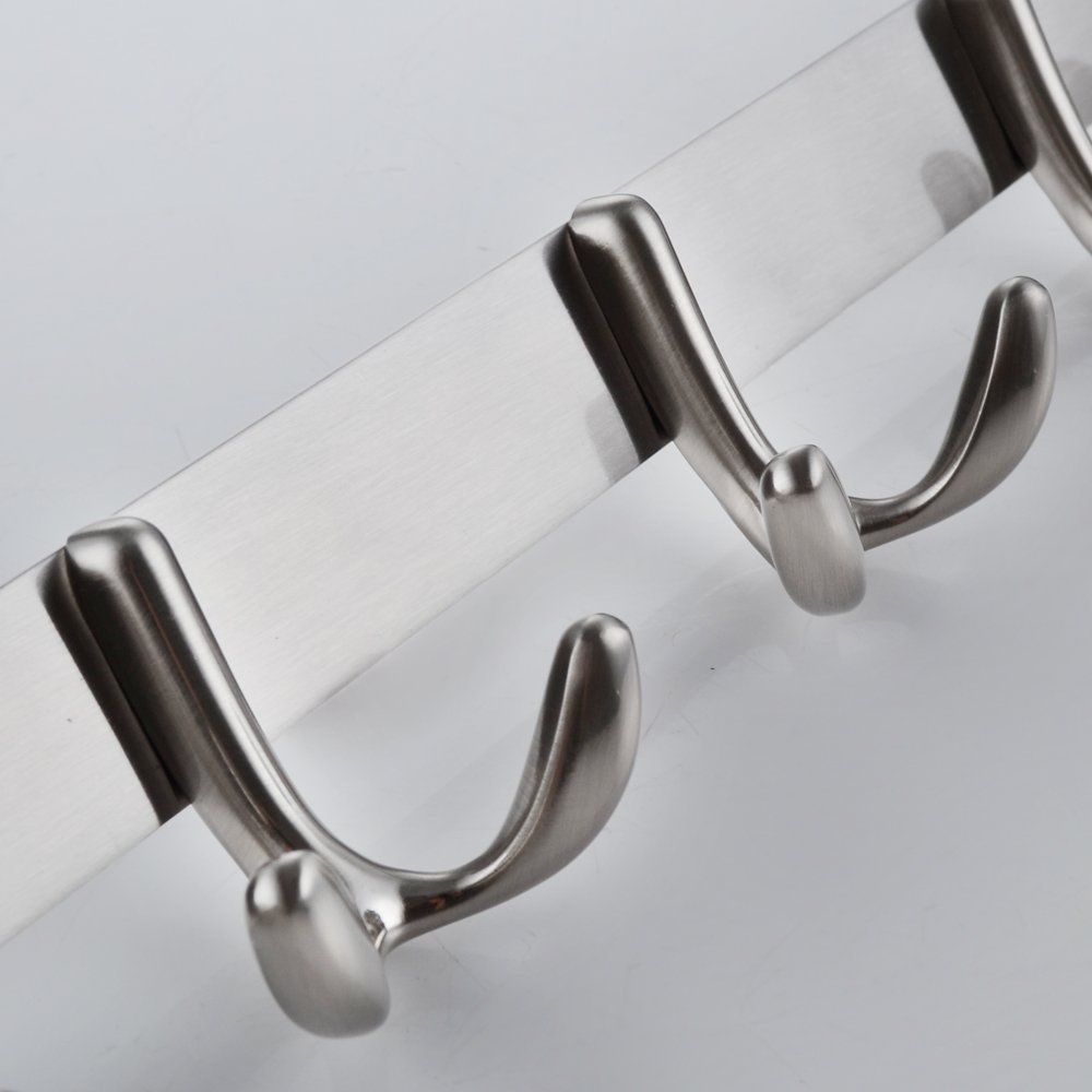 This wall mounted coat rack is made from brushed nickel and designed to hold a wide variety of items.